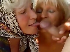 Cumshot, Granny, Mature, Old and Young, Threesome