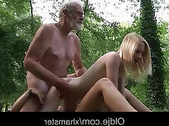 Old and Young, Outdoor, Teen, Threesome, Teen