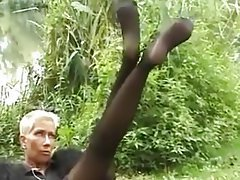 Masturbation, Mature, Stockings, Foot Fetish