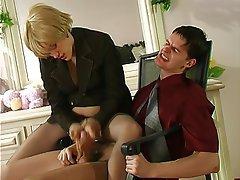 Handjob, Mature, Stockings
